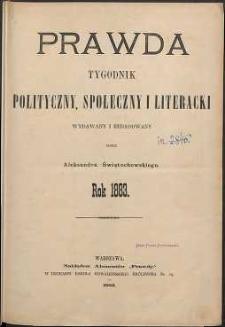 Prawda : tygodnik polityczny, społeczny i literacki, 1883, R. 3, spis rzeczy
