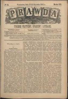 Prawda : tygodnik polityczny, społeczny i literacki, 1883, R. 3, nr 2