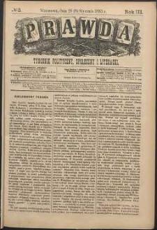 Prawda : tygodnik polityczny, społeczny i literacki, 1883, R. 3, nr 3