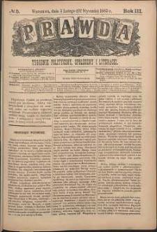 Prawda : tygodnik polityczny, społeczny i literacki, 1883, R. 3, nr 5