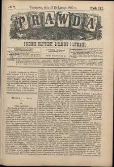 Prawda : tygodnik polityczny, społeczny i literacki, 1883, R. 3, nr 7