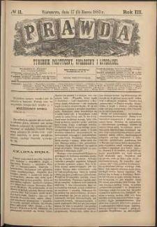 Prawda : tygodnik polityczny, społeczny i literacki, 1883, R. 3, nr 11