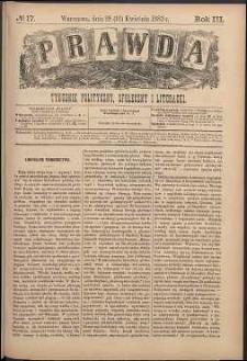 Prawda : tygodnik polityczny, społeczny i literacki, 1883, R. 3, nr 17