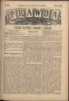 Prawda : tygodnik polityczny, społeczny i literacki, 1883, R. 3, nr 25