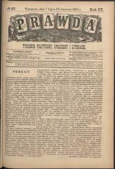 Prawda : tygodnik polityczny, społeczny i literacki, 1883, R. 3, nr 27