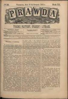 Prawda : tygodnik polityczny, społeczny i literacki, 1883, R. 3, nr 33