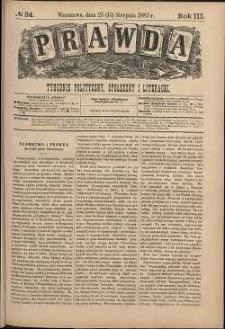 Prawda : tygodnik polityczny, społeczny i literacki, 1883, R. 3, nr 34