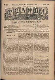 Prawda : tygodnik polityczny, społeczny i literacki, 1883, R. 3, nr 43