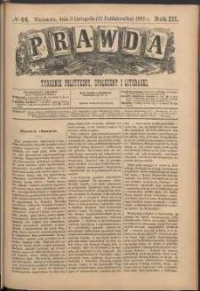 Prawda : tygodnik polityczny, społeczny i literacki, 1883, R. 3, nr 44