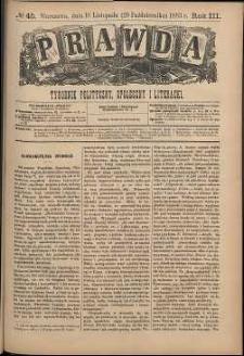 Prawda : tygodnik polityczny, społeczny i literacki, 1883, R. 3, nr 45