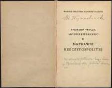 Andrzeja Frycza Modrzewskiego o naprawie Rzeczypospolitej