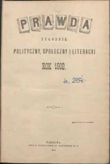 Prawda : tygodnik polityczny, społeczny i literacki, 1903, R. 23, spis rzeczy