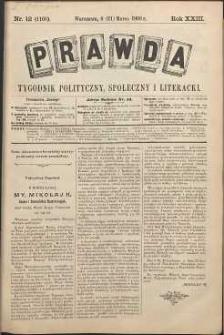 Prawda : tygodnik polityczny, społeczny i literacki, 1903, R. 23, nr 12