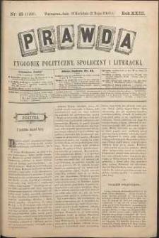 Prawda : tygodnik polityczny, społeczny i literacki, 1903, R. 23, nr 18