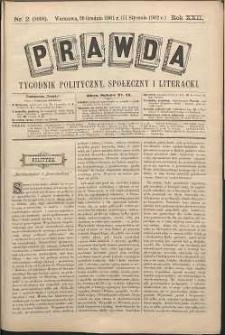 Prawda : tygodnik polityczny, społeczny i literacki, 1902, R. 22, nr 2