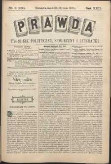 Prawda : tygodnik polityczny, społeczny i literacki, 1902, R. 22, nr 3