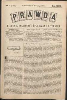 Prawda : tygodnik polityczny, społeczny i literacki, 1902, R. 22, nr 7