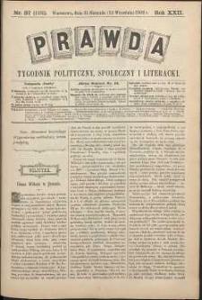 Prawda : tygodnik polityczny, społeczny i literacki, 1902, R. 22, nr 37