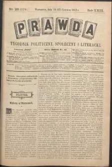 Prawda : tygodnik polityczny, społeczny i literacki, 1903, R. 23, nr 26
