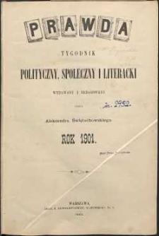 Prawda : tygodnik polityczny, społeczny i literacki, 1901, R. 21, spis rzeczy