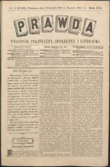 Prawda : tygodnik polityczny, społeczny i literacki, 1901, R. 21, nr 1