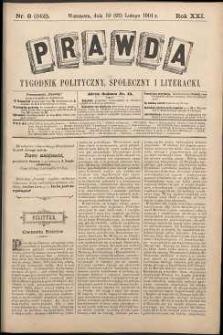 Prawda : tygodnik polityczny, społeczny i literacki, 1901, R. 21, nr 8