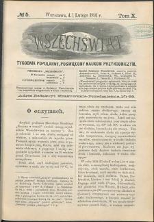 Wszechświat : Tygodnik popularny, poświęcony naukom przyrodniczym, 1891, T. 10, nr 5
