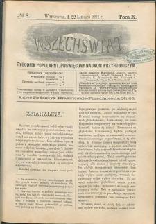 Wszechświat : Tygodnik popularny, poświęcony naukom przyrodniczym, 1891, T. 10, nr 8
