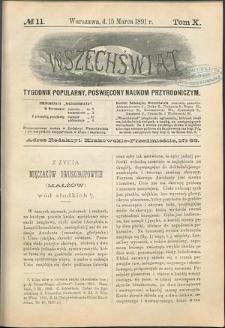 Wszechświat : Tygodnik popularny, poświęcony naukom przyrodniczym, 1891, T. 10, nr 11