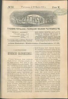 Wszechświat : Tygodnik popularny, poświęcony naukom przyrodniczym, 1891, T. 10, nr 12