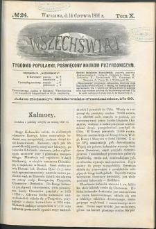 Wszechświat : Tygodnik popularny, poświęcony naukom przyrodniczym, 1891, T. 10,nr 24