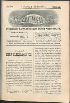 Wszechświat : Tygodnik popularny, poświęcony naukom przyrodniczym, 1891, T. 10, nr 28