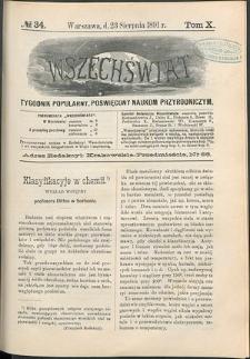 Wszechświat : Tygodnik popularny, poświęcony naukom przyrodniczym, 1891, T. 10, nr 34