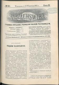 Wszechświat : Tygodnik popularny, poświęcony naukom przyrodniczym, 1891, T. 10, nr 37