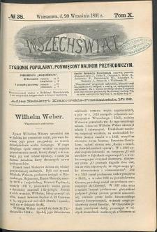 Wszechświat : Tygodnik popularny, poświęcony naukom przyrodniczym, 1891, T. 10, nr 38