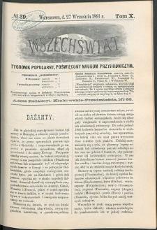 Wszechświat : Tygodnik popularny, poświęcony naukom przyrodniczym, 1891, T. 10, nr 39