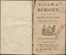 Ustawa rządowa. Prawo uchwalone dnia 3 Maia, Roku 1791